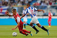 HEERENVEEN, 03-08-2013 , Abe Lenstra Stadion, Eredivisie , seizoen 2013-2014 , SC Heerenveen - AZ , AZ speler Markus Henriksen (l) met SC Heerenveen speler Luciano Slagveer (r ).