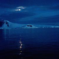 Moonrise over Gerlache Strait, Antarctica.