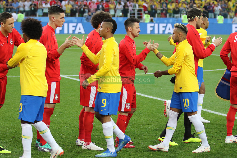 June 27, 2018 - Moscow, Russia - June 27, 2018, Russia, Moscow, FIFA World Cup 2018, First round, Group D, Third round. Football match Serbia - Brazil at the stadium of Spartak. Player of the national team Neimar. (Credit Image: © Russian Look via ZUMA Wire)