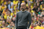 Manchester City manager Pep Guardiola during the The FA Cup Final match between Manchester City and Watford at Wembley Stadium, London, England on 18 May 2019.