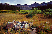 Idaho, Pioneer Mountains/Copper Basin; Round, Long, Rough, and Golden Lake loop trail (open to ATVs); remote ATV campsite near Round Lake