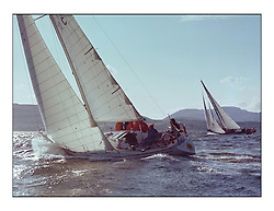 The Clyde Cruising Club's 1977 Tomatin Trophy the first Scottish Series held at Tarbert Loch Fyne.  An overnight race from Gourock to Campbeltown then on to Olympic Triangles in Loch Fyne. ..710C Fascinator CCC, Peter Houston's entry to the series.
