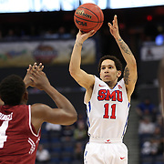 Nic Moore, SMU, shoots for three during the Temple Vs SMU Semi Final game at the American Athletic Conference Men's College Basketball Championships 2015 at the XL Center, Hartford, Connecticut, USA. 14th March 2015. Photo Tim Clayton