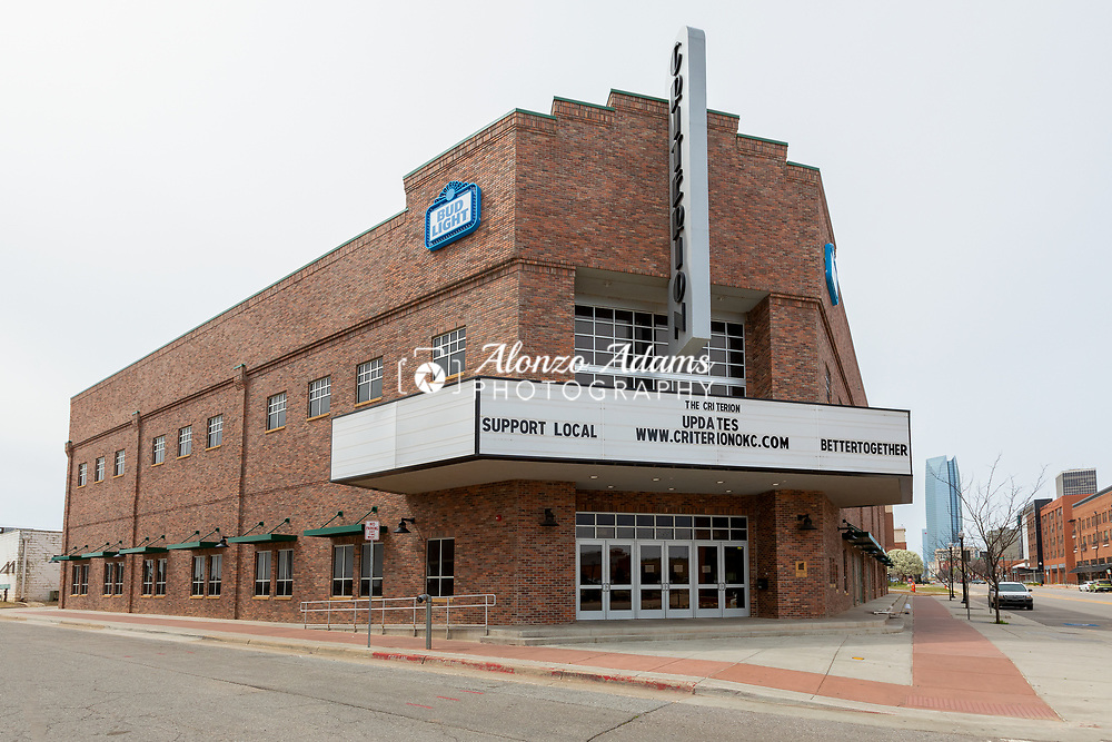 The Criterion Live Music Hall in the Bricktown Entertainment District of Oklahoma City sits closed and displays a message on their marquee regarding the COVID-19 virus on Saturday, March 21, 2020. Photo copyright © 2020 Alonzo J. Adams.