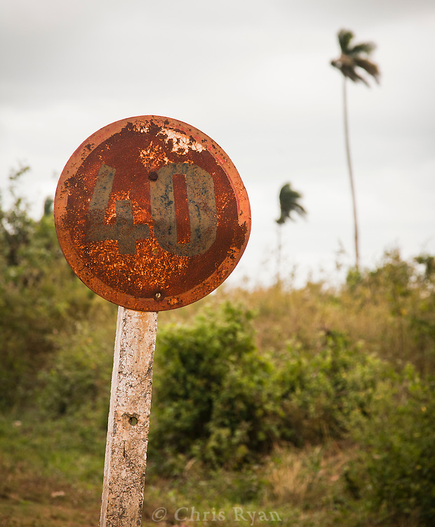 Rusted speed limit sign in Vinales Valley, Cuba