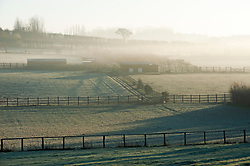 ©Licensed to London News Pictures 04/12/2019.<br /> Swanley,UK.Frozen misty fields in Swanley, Kent. The Met office has issued a cold weather warning as air from the Arctic will see temperatures in the UK drop this week. Photo credit: Grant Falvey/LNP