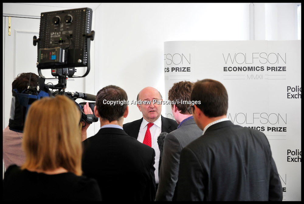 Roger Bootle from Capital Economics (red Tie,glasses) wins the Wolfson Economics Prize presented by Lord Wolfson, Thursday July 5, 2012. Photo by Andrew Parsons/i-Images.All Rights Reserved ©Andrew Parsons/i-Images.See Instructions