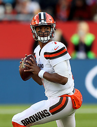 Cleveland Browns' quarterback DeShone Kizer during the International Series NFL match at Twickenham, London. PRESS ASSOCIATION Photo. Picture date: Sunday October 29, 2017. See PA story GRIDIRON London. Photo credit should read: Simon Cooper/PA Wire. RESTRICTIONS: News and Editorial use only. Commercial/Non-Editorial use requires prior written permission from the NFL. Digital use subject to reasonable number restriction and no video simulation of game.