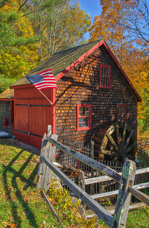 Idyllic and scenic New England fall foliage fine art photography of the Kingsbury Grist Mill in Medfield, Massachusetts. The New England fall foliage beautifully complimented the rustic historic grist mill. <br /> <br /> Kingsbury Grist Mill photography images are available as museum quality photo, canvas, acrylic, wood or metal prints. Wall art prints may be framed and matted to the individual liking and interior design decoration needs:<br /> <br /> https://juergen-roth.pixels.com/featured/kingsbury-grist-mill-in-medfield-massachusetts-juergen-roth.html<br /> <br /> Good light and happy photo making!<br /> <br /> My best,<br /> <br /> Juergen