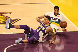 February 27, 2019 - Los Angeles, CA, U.S. - LOS ANGELES, CA - FEBRUARY 27: Los Angeles Lakers Forward Kyle Kuzma (0) and New Orleans Pelicans Forward Anthony Davis (23) end up on the ground during the first half of the New Orleans Pelicans versus Los Angeles Lakers game on February 27, 2019, at Staples Center in Los Angeles, CA. (Photo by Icon Sportswire) (Credit Image: © Icon Sportswire/Icon SMI via ZUMA Press)