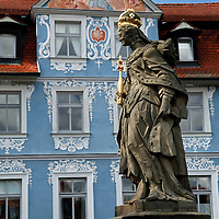 Europe, Germany, Bamberg. Empress Kunigunde and Hellerhaus on the old city of Bamberg.