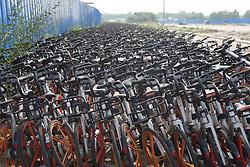 July 6, 2018 - Zhengzhou, China - Hundreds of abandoned shared bicycles seen in Zhengzhou, central China's Henan Province. (Credit Image: © SIPA Asia via ZUMA Wire)