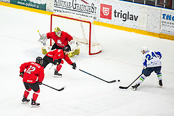 TICAR Rok (SLO) vs MOTIEJUNAS Dominykas (LTU) during OI pre-qualifications of Group G between Slovenia men's national ice hockey team and Lithuania men's national ice hockey team, on February 6, 2020 in Ice Arena Podmezakla, Jesenice, Slovenia. Photo by Peter Podobnik / Sportida
