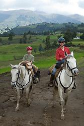 South America, Ecuador, Zuleta, horseback riding excursion from hacienda.  MR