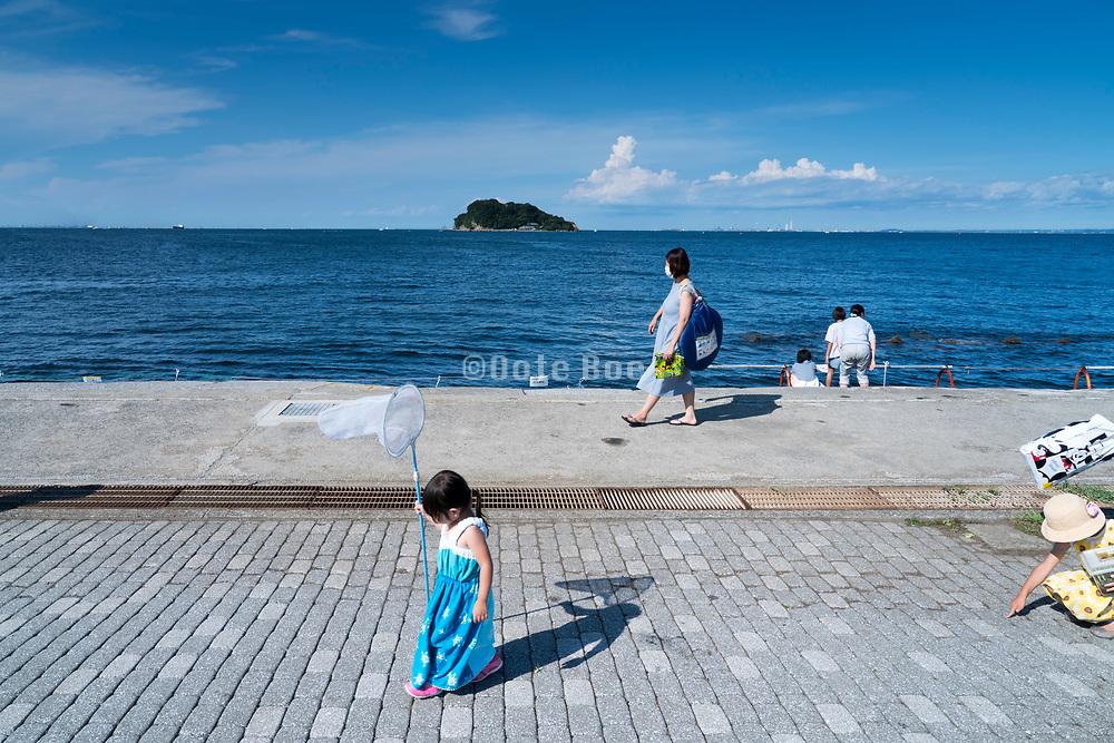 promenade at Umikaze park, Yokosuka with Tokyo Bay and Sarushima Island