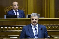 November 22, 2018 - Kiev, Ukraine - Ukraine's President Petro Poroshenko addresses lawmakers during a parliament session in Kyiv, Ukraine November 22, 2018. (Credit Image: © Maxym Marusenko/NurPhoto via ZUMA Press)