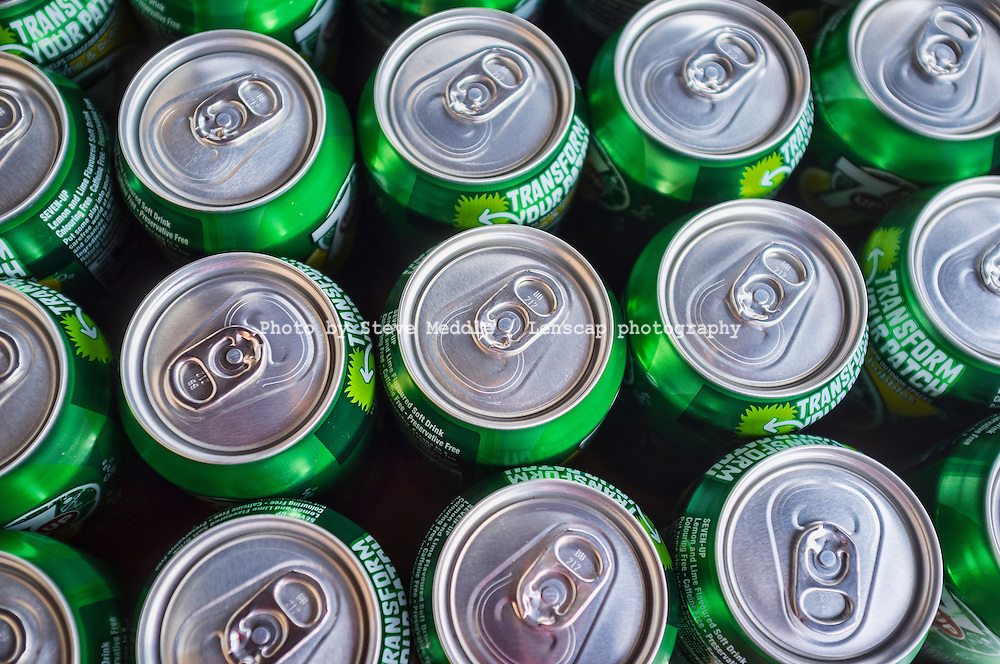 Cans of 7up Drink, Showing Stay-on-Tab's - 2012
