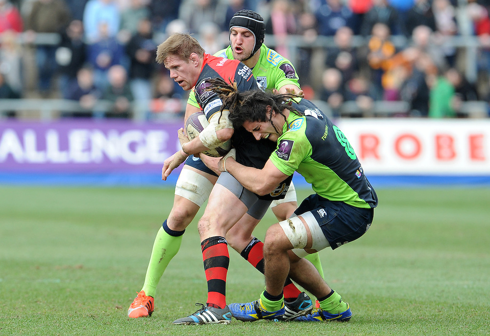 Newport Gwent Dragons' T.Rhys Thomas is tackled by Cardiff Blues' Josh Navidi and Sam Warburton<br /> <br /> Photographer Ian Cook/CameraSport<br /> <br /> Rugby Union - European Rugby Challenge Cup - Quarter Final - Newport Gwent Dragons v Cardiff Blues - Saturday 4th April 2015 - Rodney Parade - Newport<br /> <br /> © CameraSport - 43 Linden Ave. Countesthorpe. Leicester. England. LE8 5PG - Tel: +44 (0) 116 277 4147 - admin@camerasport.com - www.camerasport.com
