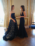 Chloe Delevigne and The hon Lara Hughes-Young, Getting ready on the Friday, Thirteenth Annual Crillon Haute Couture Bazll. Paris, © Copyright Photograph by Dafydd Jones 66 Stockwell Park Rd. London SW9 0DA Tel 020 7733 0108 www.dafjones.com
