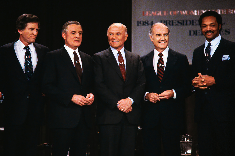 1994 Democratic Presidential Debate. Left to Right: Gary Hart, Walter Mondale, John Glenn, George McGovern and Jesse Jackson.