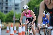 Deon Coetzee on the bike during the Elite Men's race of the Virgin Active London Triathlon, Excel London, UK on 28 July 2013. Photo: Simon Parker