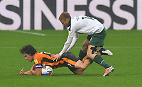 Hull City's George Honeyman is fouled by  Plymouth Argyle's Ben Reeves<br /> <br /> Photographer Dave Howarth/CameraSport<br /> <br /> The EFL Sky Bet League One - Hull City v Plymouth Argyle - Saturday 3rd October 2020 - KCOM Stadium - Kingston upon Hull<br /> <br /> World Copyright © 2020 CameraSport. All rights reserved. 43 Linden Ave. Countesthorpe. Leicester. England. LE8 5PG - Tel: +44 (0) 116 277 4147 - admin@camerasport.com - www.camerasport.com