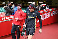 Dan Biggar of Wales walks out to pitchside. Wales Rugby captains run, ahead of tomorrows RBS Six nations match against England. Principality Stadium, Cardiff, South Wales on Friday 10th Feb 2017.   pic by  Andrew Orchard, Andrew Orchard sports photography.