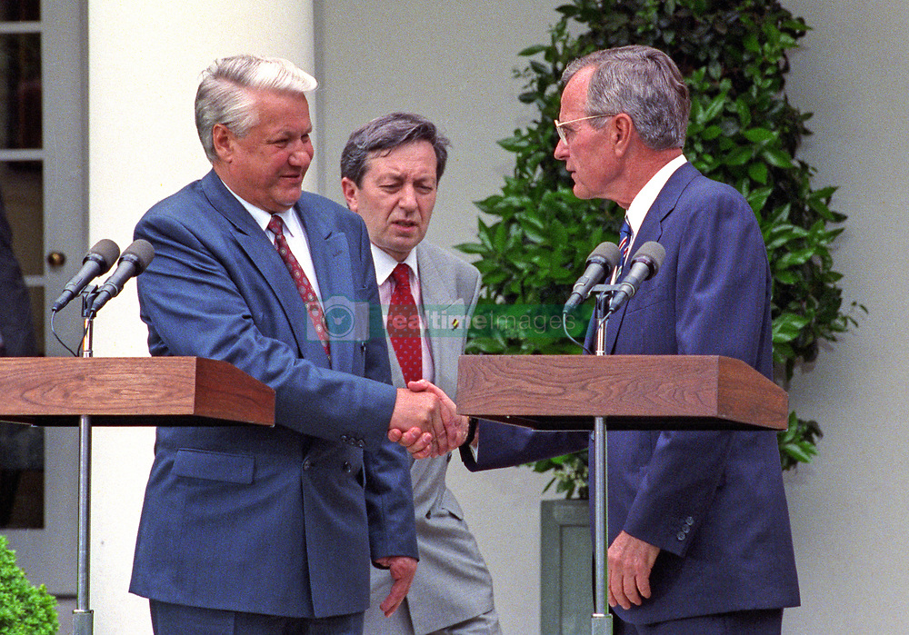 United States President George H.W. Bush, right, and President Boris Yeltsin of the Russian Federation, left, shake hands after announcing an arms control agreement that will eliminate all of Russia's most powerful SS-18 multiple warhead missiles, in the Rose Garden of the White House in Washington, D.C. on June 16, 1992. After making their statements the presidents took questions from the media. Photo by Ron Sachs / CNP /ABACAPRESS.COM