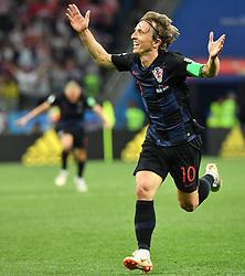 June 21, 2018 -  Nizhny Novgorod, Russia - LUKA MODRIC of Croatia celebrates scoring during the 2018 FIFA World Cup Group D match between Argentina and Croatia. Croatia won 3-0. (Credit Image: © Li Ga/Xinhua via ZUMA Wire)