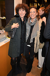 Left to right, SARAH VON HALLE and SARA CARELLO at a party to celebrate the launch of Olivia von Halle, 151 Sloane Street, London on 25thNovember 2015