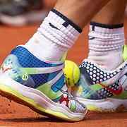 PARIS, FRANCE May 23.  Rafael Nadal of Spain playing football in his new tennis shoes which show the number eleven on the side representing how many French Open titles he has won. Nadal was training on Court Suzanne Lenglenin preparation for the 2019 French Open Tennis Tournament at Roland Garros on May 23rd 2019 in Paris, France. (Photo by Tim Clayton/Corbis via Getty Images)
