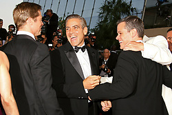 Cast members Brad Pitt, George Clooney and Matt Damon walk the red carpet of the Palais des Festivals in Cannes, France, May 24, 2007, to attend the gala screening of Steven Soderbergh's film Ocean's Thirteen presented out of competition at the 60th Cannes International Film Festival. After the gang's foray into Europe for 2004's 'Ocean's Twelve', the new flick returns the action to Las Vegas, where Reuben (Elliott Gould) thinks he's getting in on a casino deal with ruthless and sleazy Willy Bank (newcomer Al Pacino). But Bank double-crosses Reuben, giving him a heart attack. Photo by Hahn-Nebinger-Orban/ABACAPRESS.COM