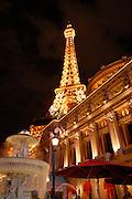 The Paris casino in Las Vegas at night, Nevada, USA