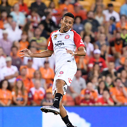 BRISBANE, AUSTRALIA - JANUARY 28: Kearyn Baccus of the Wanderers heads the ball during the round 17 Hyundai A-League match between the Brisbane Roar and Western Sydney Wanderers at Suncorp Stadium on January 28, 2017 in Brisbane, Australia. (Photo by Patrick Kearney/Brisbane Roar)