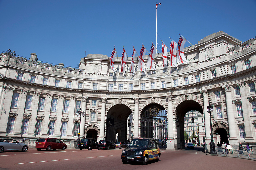 Admiralty Arch is the grand entrance to The Mall on Trafalgar Square, central London.