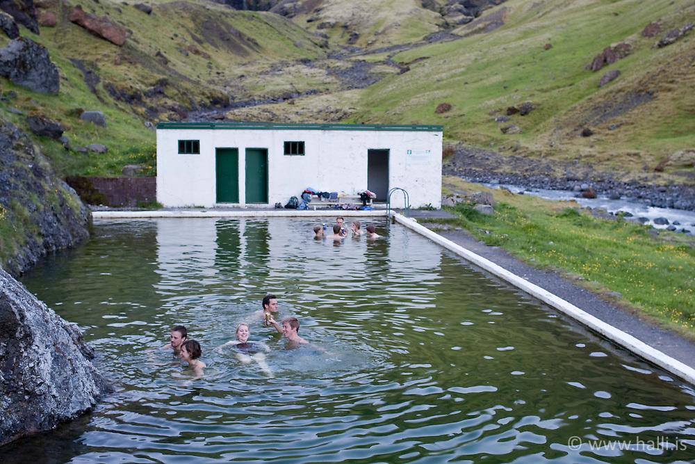 Old abandoned swimming pool, Seljavallalaug in Iceland - Seljavallalaug