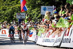 Matteo SOBRERO of ASTANA - PREMIER TECH, Tadej POGACAR of UAE TEAM EMIRATES and Diego ULISSI of UAE TEAM EMIRATES during the 4th Stage of 27th Tour of Slovenia 2021 cycling race between Ajdovscina and Nova Gorica (164,1 km), on June 12, 2021 in Slovenia. Photo by Matic Klansek Velej / Sportida