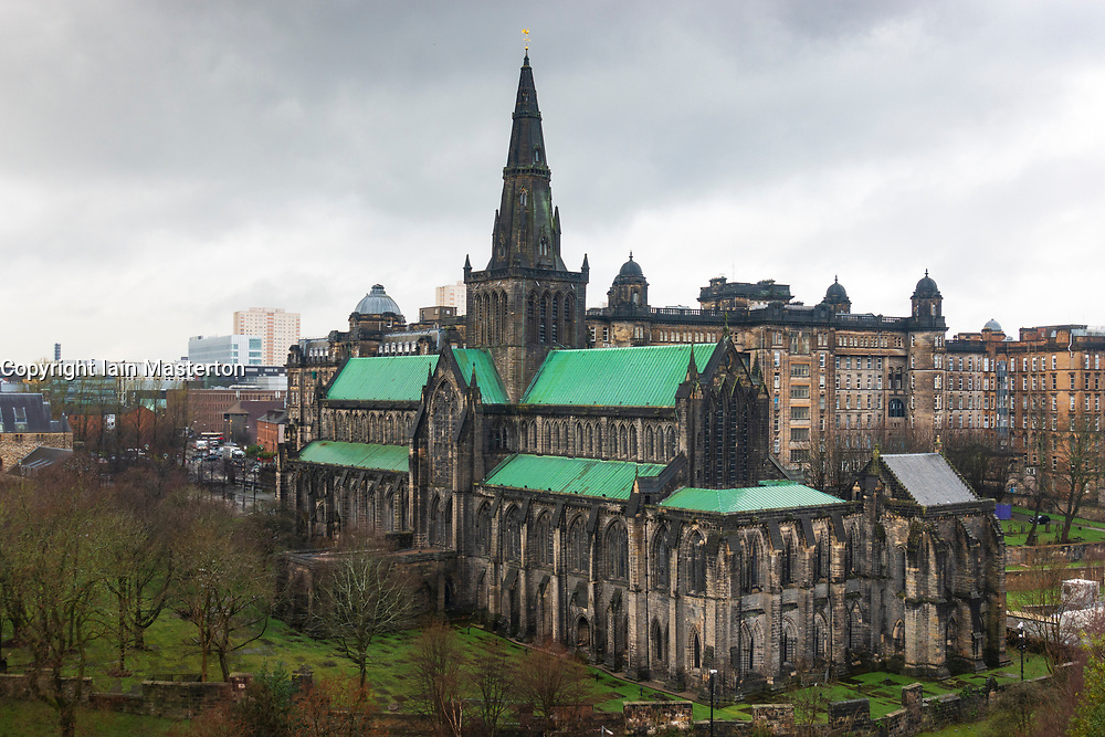 View of Glasgow Cathedral on overcast day in East End of Glasgow, Scotland, UK