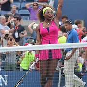 Serena Williams, USA, in action against Maria Jose Martinez Sanchez, Spain, during the US Open Tennis Tournament, Flushing, New York. USA. 30th August 2012. Photo Tim Clayton