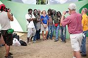 The Sierra Leone Refugee All Stars pose backstage at Pickathon 2012.