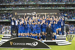 May 27, 2018 - Dublin, Ireland - Leinster Rugby players celebrate victory during the Guinness PRO14 Final match between Leinster Rugby and Scarlets at Aviva Stadium in Dublin, Ireland on May 26, 2018  (Credit Image: © Andrew Surma/NurPhoto via ZUMA Press)