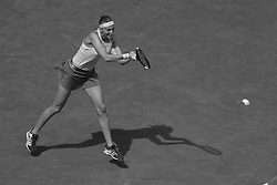 May 6, 2019 - Madrid, Spain - (EDITOR'S NOTE: Image was converted to black and white) Petra Kvitova of The Czech returns the ball in her match against  Kristina Mladenovic of France during day three of the Mutua Madrid Open at La Caja Magica on May 06, 2019 in Madrid, Spain. (Credit Image: © Oscar Gonzalez/NurPhoto via ZUMA Press)