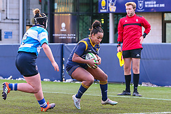Jade Shekells of Worcester Warriors Women braces for a tackly by Alana Bainbridge of DMP Durham Sharks - Mandatory by-line: Nick Browning/JMP - 09/01/2021 - RUGBY - Sixways Stadium - Worcester, England - Worcester Warriors Women v DMP Durham Sharks - Allianz Premier 15s