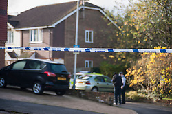 © Licensed to London News Pictures. 12/11/2015. London, UK. A murder investigation has been launched after a woman was found dead at a residential address in Ivybridge Close, Uxbridge in north west London.  Police have reported that two men have been arrested in connection with this incident.  The immediate area has been cordoned off as investigations continue. Photo credit : Stephen Chung/LNP