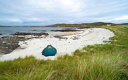 Tent on beach at Sanna on Ardnamurchan Peninsula , Highland Region, Scotland, UK