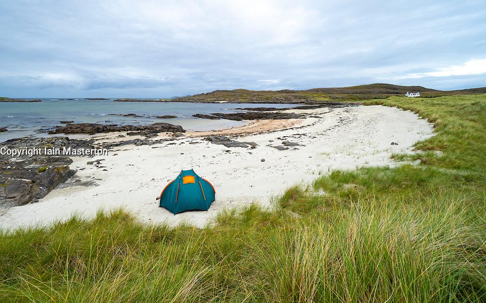Tent on beach at Sanna on Ardnamurchan Peninsula , Highland Region, Scotland, UK
