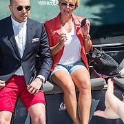 NLD/Amsterdam/20140613 - Leco van Zadelhoff organiseert samen met Beau Monde Beau Bateau een vaartocht met vriendinnen, ..............., Jamia Loman en Caroline Tensen