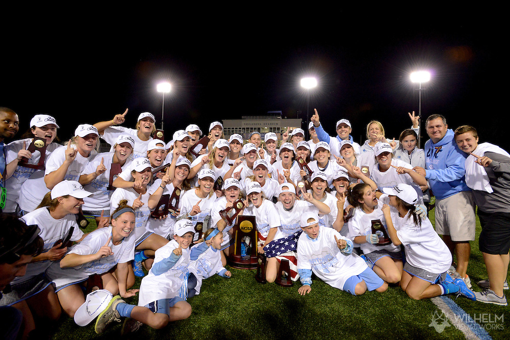 26 MAY 2013:  The University of North Carolina celebrate their victory over the University of Maryland during the 2013 NCAA Women's Division I Lacrosse Championship held at Villanova Stadium on the campus of Villanova University in Villanova, PA. North Carolina defeated Maryland 13-12 in overtime to win the national title. © Brett Wilhelm