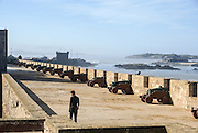 Morocco, Essaouira, Fortified seawall and cannon