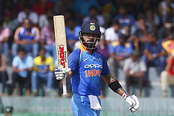 August 31, 2017 - Colombo, Sri Lanka - Indian cricket captain Virat Kohli celebrates after scoring 50 runs during the 4th One Day International cricket match between Sri Lanka and India at the R Premadasa international cricket stadium at Colombo, Sri Lanka on Thursday 31 August 2017. (Credit Image: © Tharaka Basnayaka/NurPhoto via ZUMA Press)